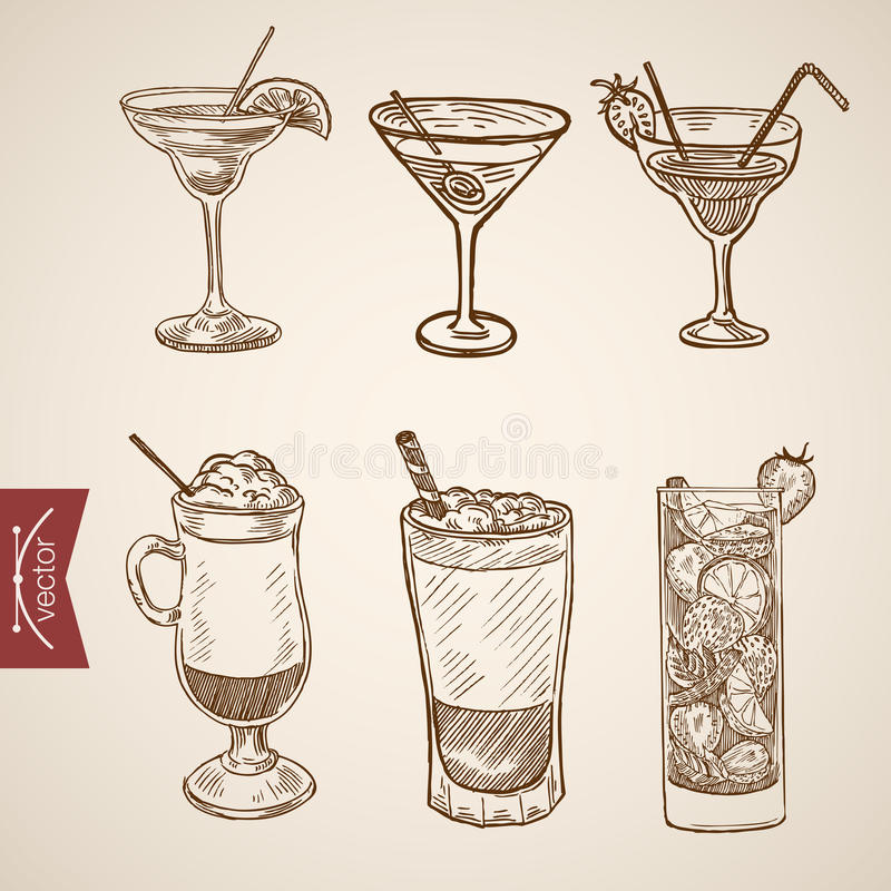 Coffee late cappuccino creme cocktail engraving vector vintage. Coffee late cappuccino creme cocktail liquor aperitif alcohol hot beverage glasses set. Engraving stock illustration
