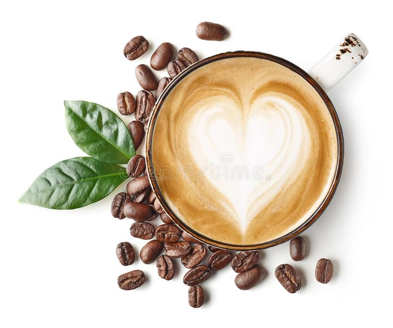 Cappuccino Coffee With Heart Drawing In White Cup Stock