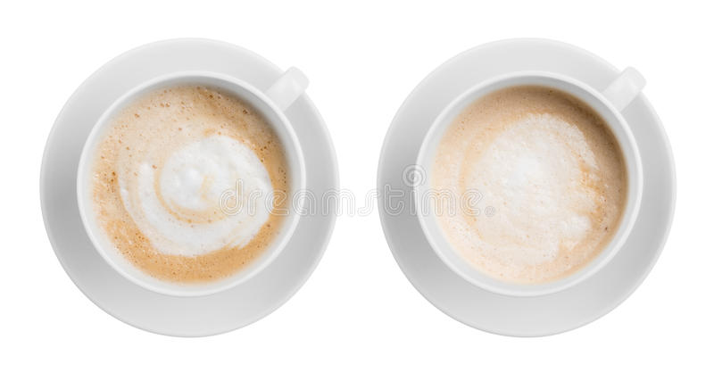 Coffee latte or cappuccino cup top view isolated on royalty free stock photo