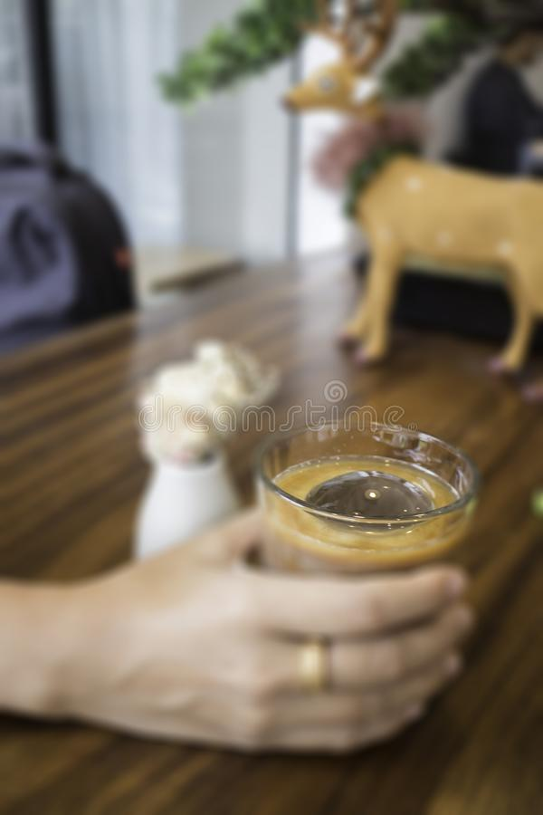 Coffee latte with iced ball. Stock photo stock photography