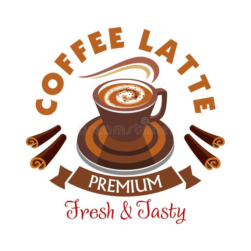 Coffee Latte label. Premium fresh and tasty vector illustration