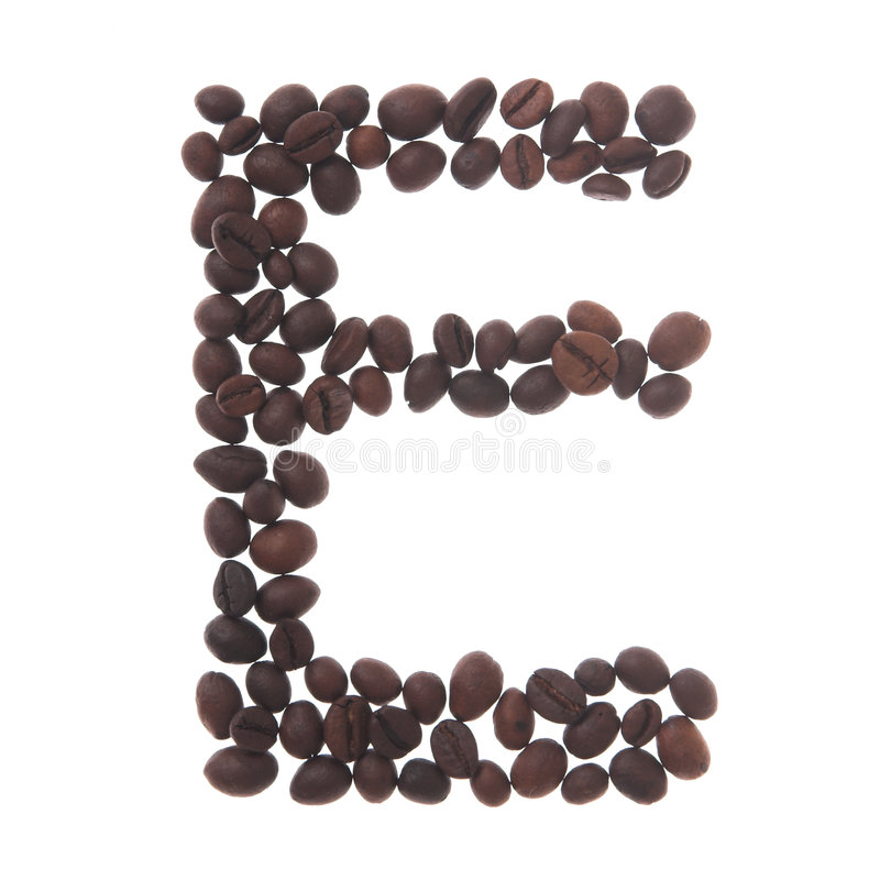 Coffee letter e stock photography