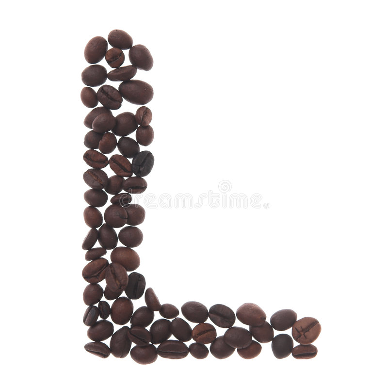 Coffee letter l royalty free stock images