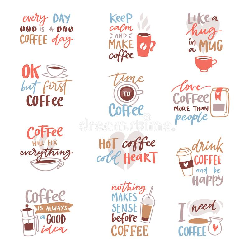 Free Coffee Lettering Vector Coffeecup Quote Phrase Hot Drink Mug Inspiration Coffeetime Calligraphy Style Typography Stock Photography - 105187912