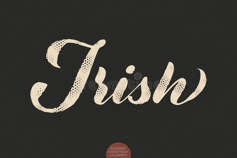 Coffee lettering. Vector hand drawn calligraphy Irish. Elegant modern calligraphy ink illustration. Typography poster on stock illustration