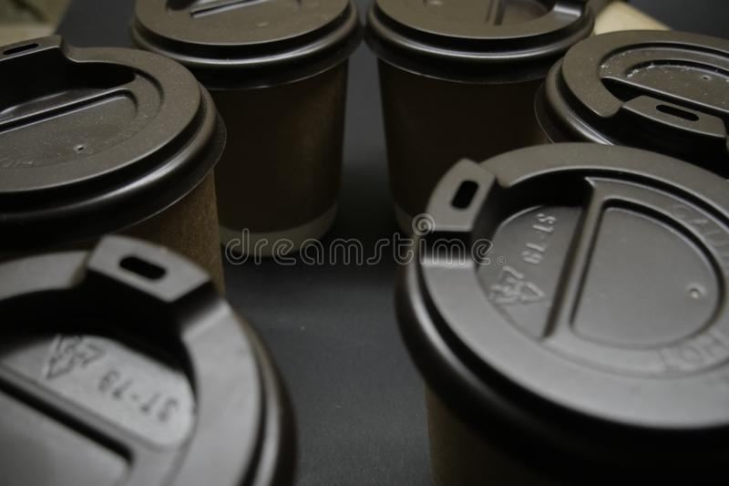 Paper cups with cover top view. stock photo