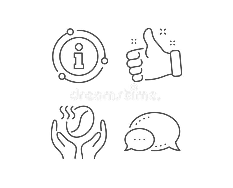 Coffee line icon. Hold roasted bean sign. Love caffeine. Vector. Coffee line icon. Chat bubble, info sign elements. Hold roasted bean sign. Love caffeine symbol vector illustration