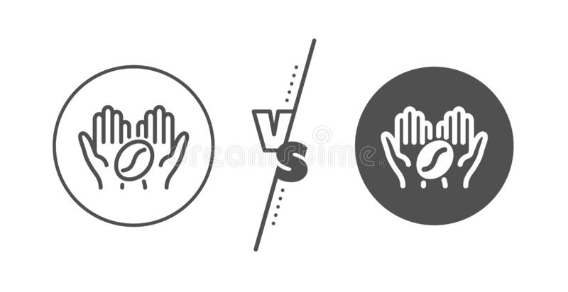 Coffee line icon. Hold roasted bean sign. Love caffeine. Vector. Hold roasted bean sign. Versus concept. Coffee line icon. Love caffeine symbol. Line vs classic royalty free illustration