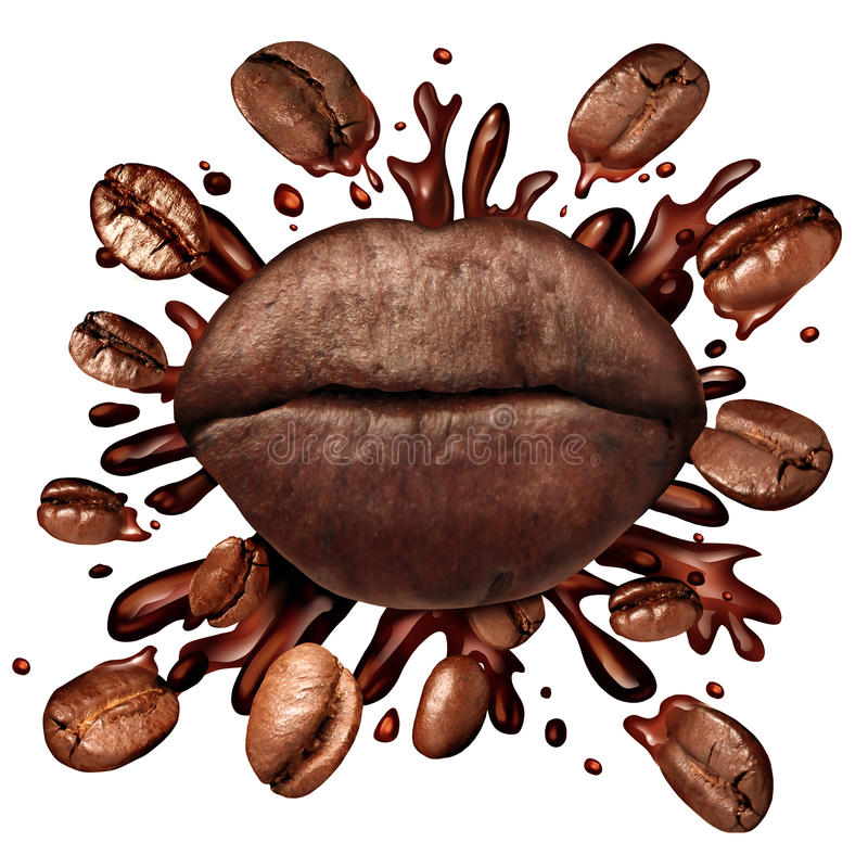Coffee Lips Concept. And a hot beverage splash with coffee beans flying out as a dark roast brew with splashing fresh hot brewed liquid as a symbol for the love royalty free illustration
