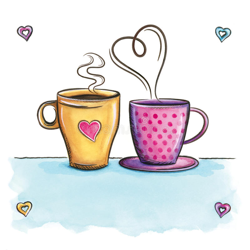 Kitchen Tea Background: Coffee Love. Cups Love Background Kitchen Decor. Stock