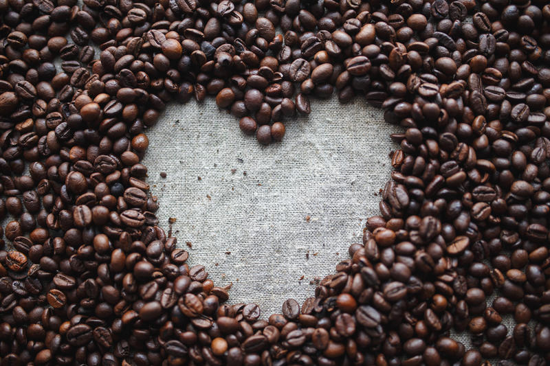Coffee love heart royalty free stock photos