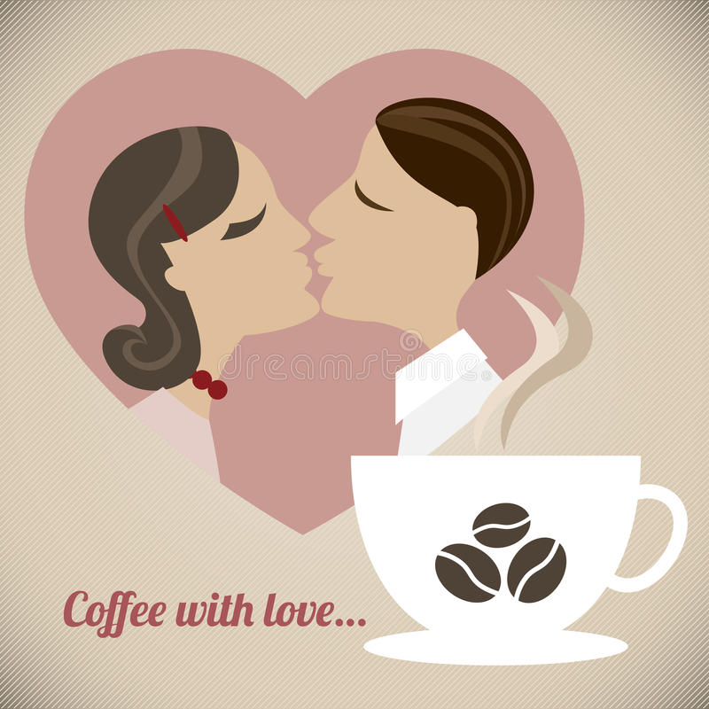 Coffee with love. A retro illustration of a couple in love with a cup of great coffee stock illustration