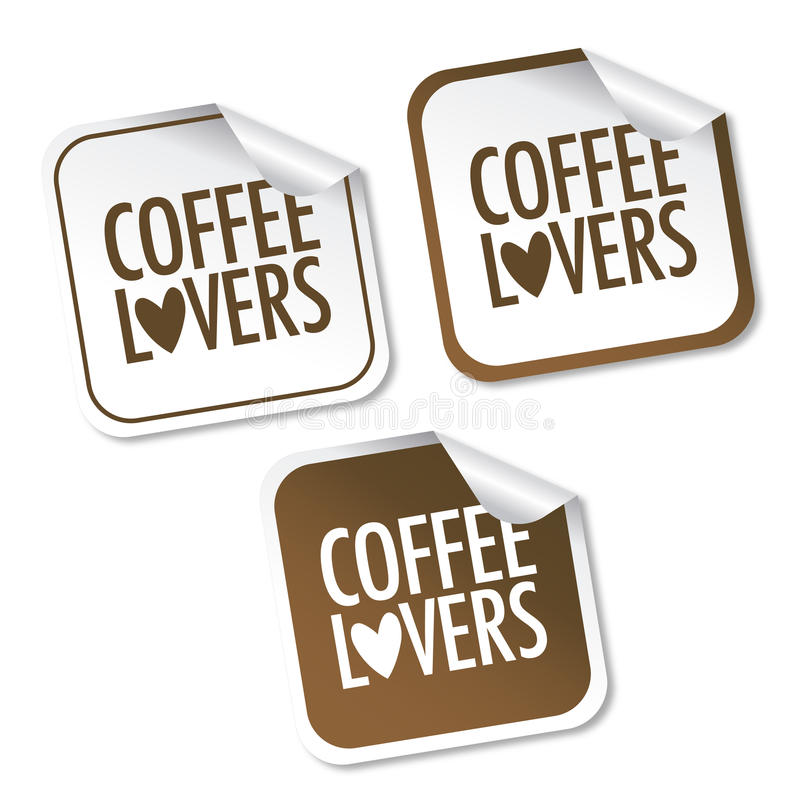 Coffee lovers stickers vector illustration