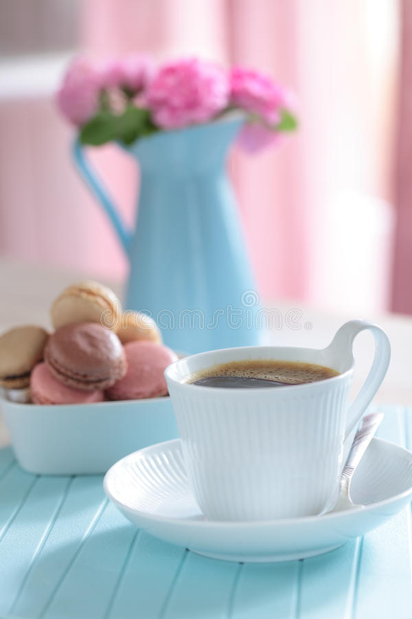 Download Coffee and macarons stock photo. Image of beverage, sweet - 25594754