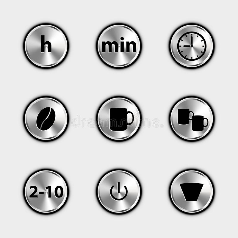 Coffee Machine Control Icons - Metallic Vector Illustrations - Isolated On White Background royalty free illustration