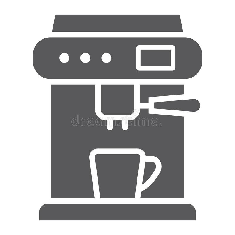 Coffee machine glyph icon, appliance and kitchen, coffee maker sign, vector graphics, a solid pattern. On a white background, eps 10 royalty free illustration
