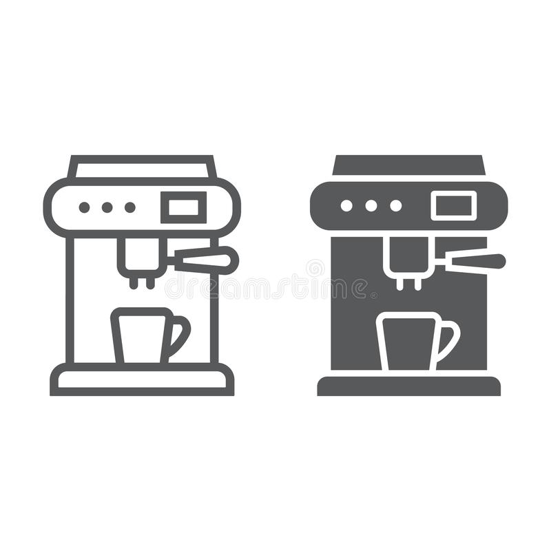 Coffee machine line and glyph icon, appliance and kitchen, coffee maker sign, vector graphics, a linear pattern. On a white background, eps 10 vector illustration