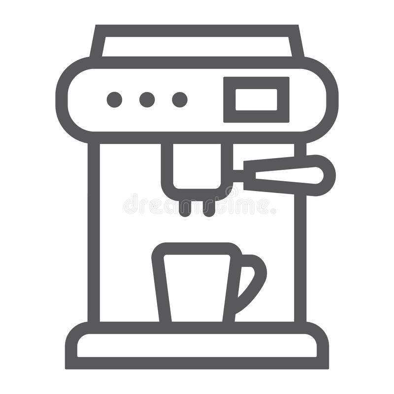 Coffee machine line icon, appliance and kitchen, coffee maker sign, vector graphics, a linear pattern. On a white background, eps 10 stock illustration