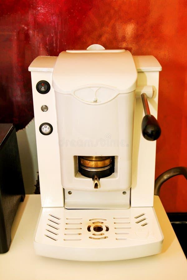Coffee machine maker. Espresso machine, close-up. A professional coffee maker in a cafe. Cappuccino, macchiato, espresso coffee. stock photos