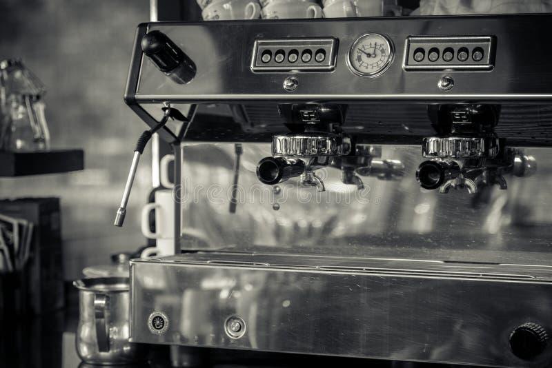 Coffee machine in restaurant. Black and white stock photos
