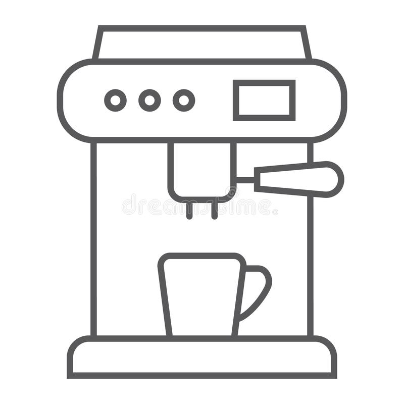 Coffee machine thin line icon, appliance and kitchen, coffee maker sign, vector graphics, a linear pattern. On a white background, eps 10 vector illustration
