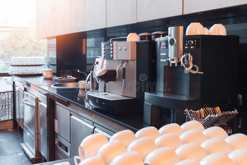 Coffee machine with vintage tone. (Sunshine effect filter) stock photo