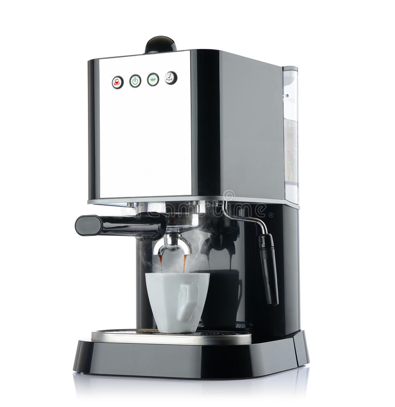 Coffee machine with a white cup royalty free stock images