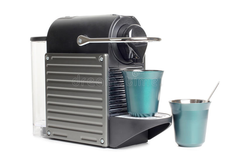 Coffee machines and two cups royalty free stock images
