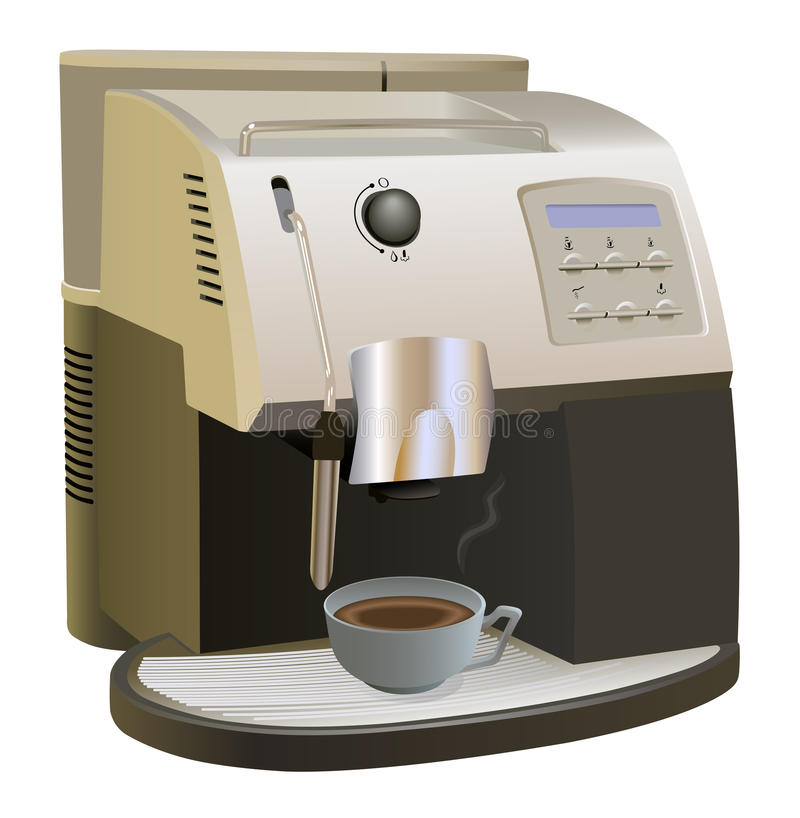 Coffee Maker. Coffee Machine with cup of coffee. Isolated on white. Coffee maker and cup of coffee are on separate layers stock illustration