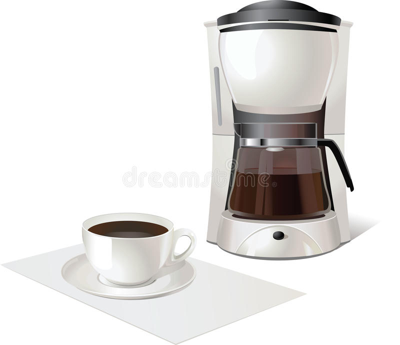 Coffee maker. And cup of hot cofee royalty free illustration