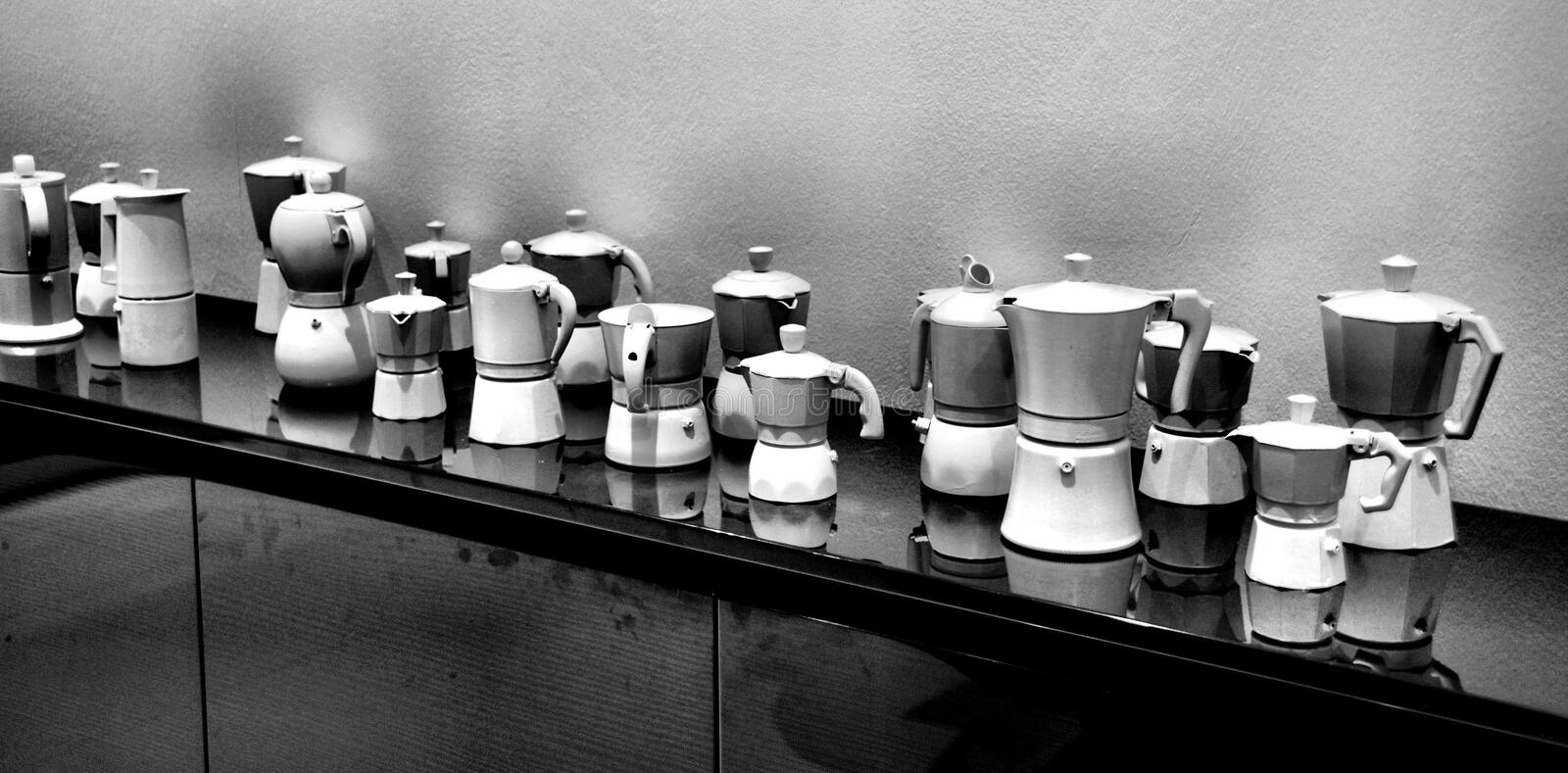 Coffee maker. Machines for coffee Neapolitan different type and form royalty free stock images