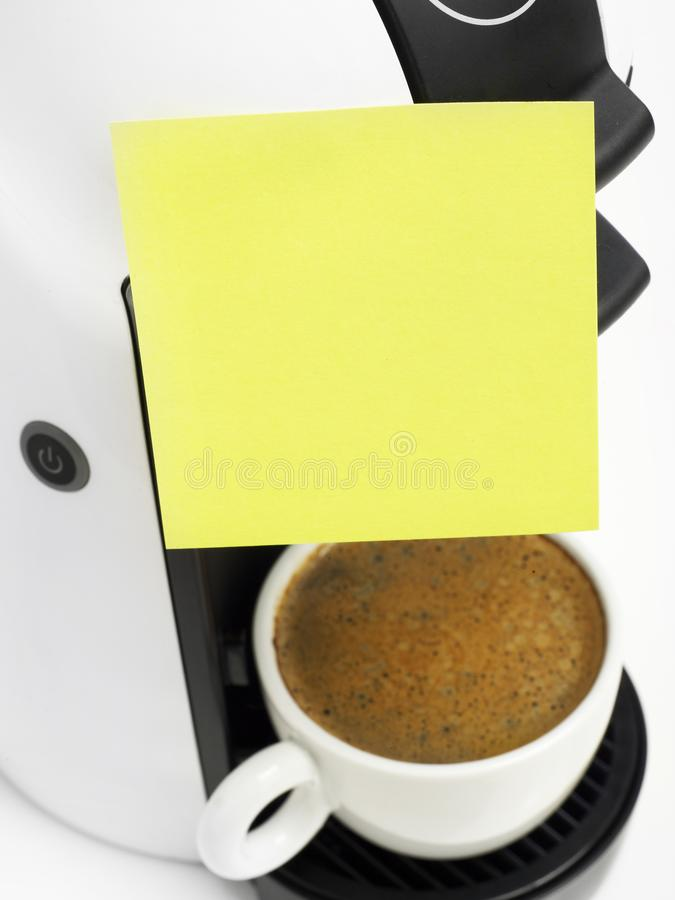 Coffee maker with adhesive note stock images