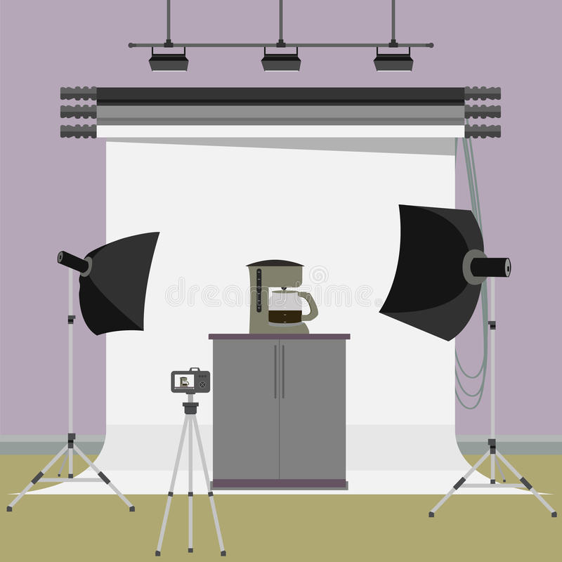 Coffee maker and boiler machine in photo studio. Vector flat illustration stock illustration