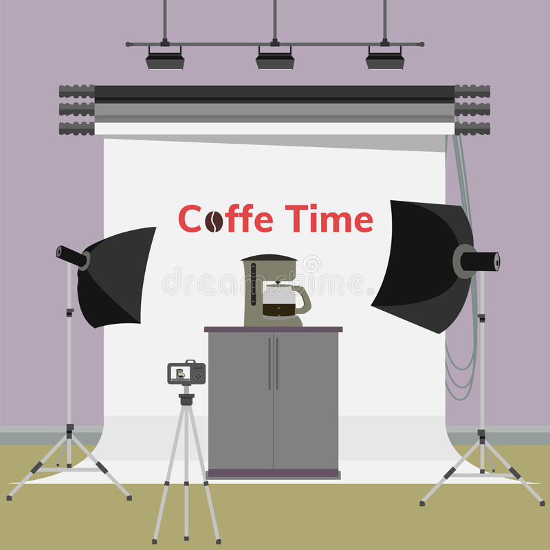 Coffee maker and boiler machine in photo studio. Coffee time advertisement. Coffee maker and boiler machine in photo studio. Vector flat illustration royalty free illustration