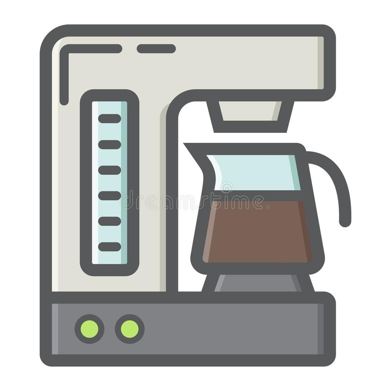 Coffee maker colorful line icon, kitchen appliance. Coffee maker colorful line icon, kitchen and appliance, vector graphics, a filled pattern on a white stock illustration