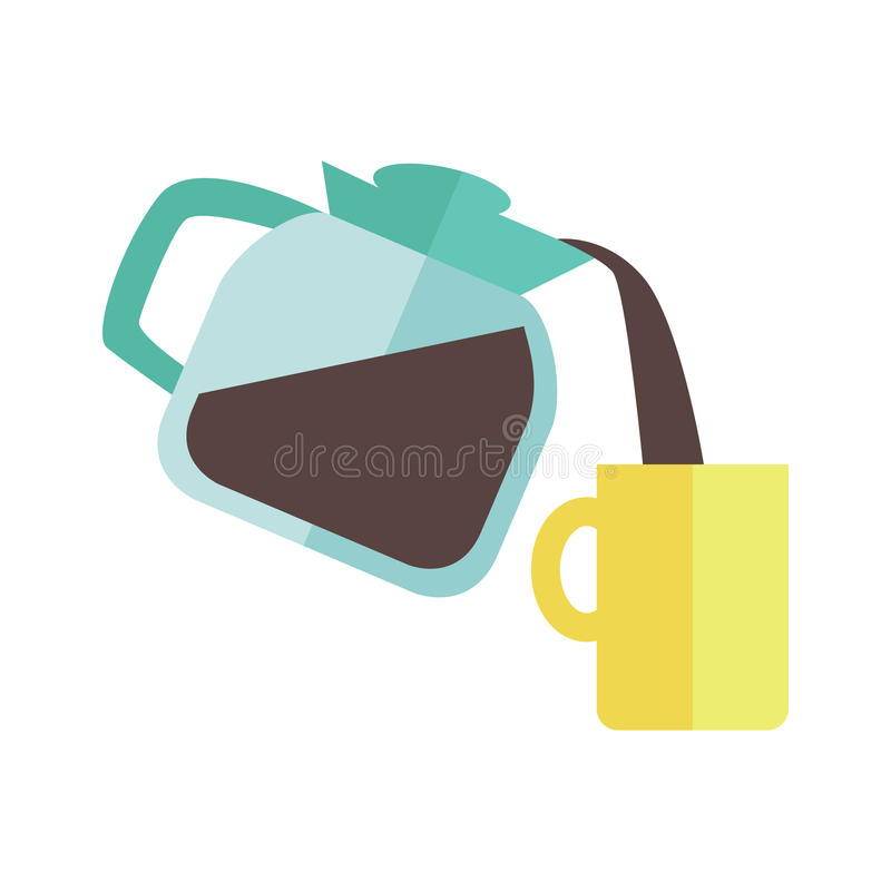 Coffee Maker with Cup. Blue coffee maker with yellow cup in flat design isolated on white background. Coffee pouring into cup. Coffee time, break time concept vector illustration