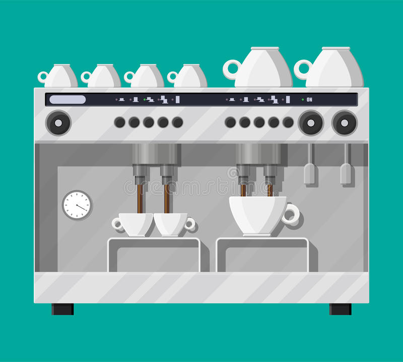 Coffee maker with cups. Big professional coffee machine for restaurants bars pubs. Coffee maker with cups. Vector illustration in flat style vector illustration