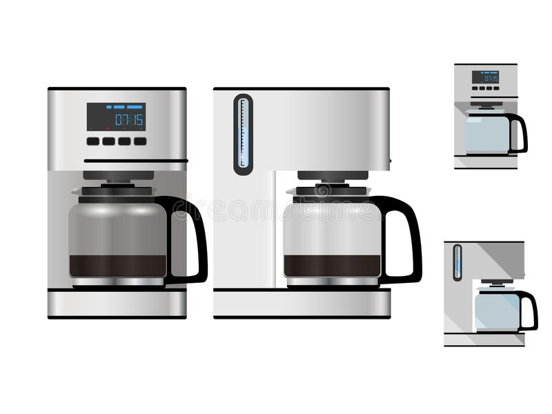 Coffee maker front and side view isolated on white background - vector illustration. Coffee maker, empty and filled, front and side view, isolated on white stock illustration