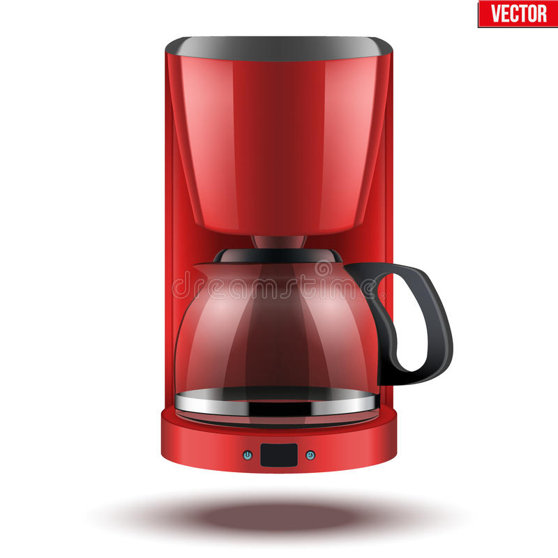 Coffee maker with glass pot. Classic Drip Coffee maker with glass pot. Red color and Original design. Editable Vector illustration on white background royalty free illustration