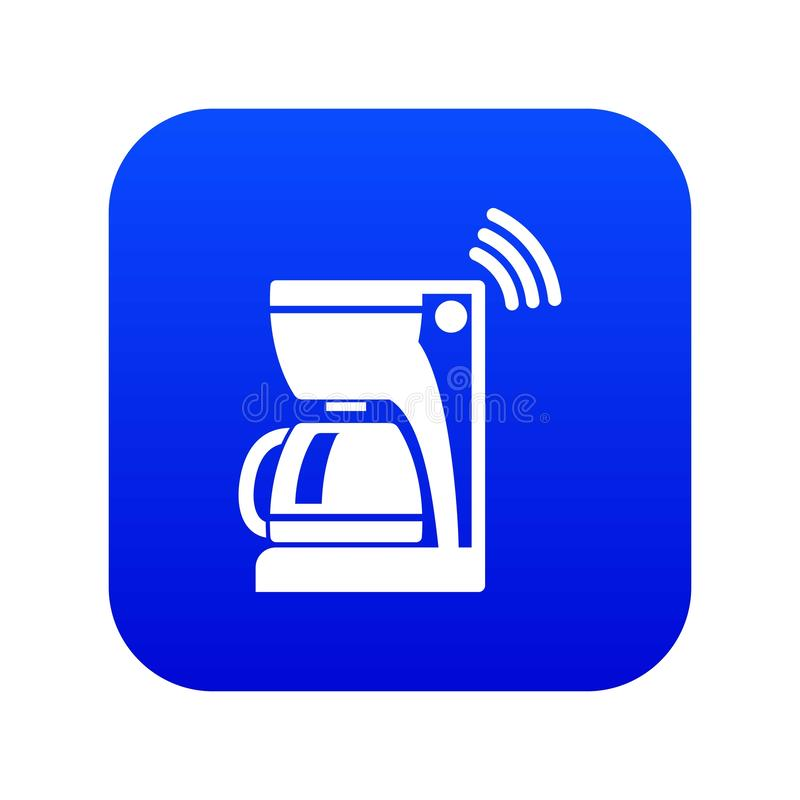 Coffee maker icon blue vector. Isolated on white background royalty free illustration