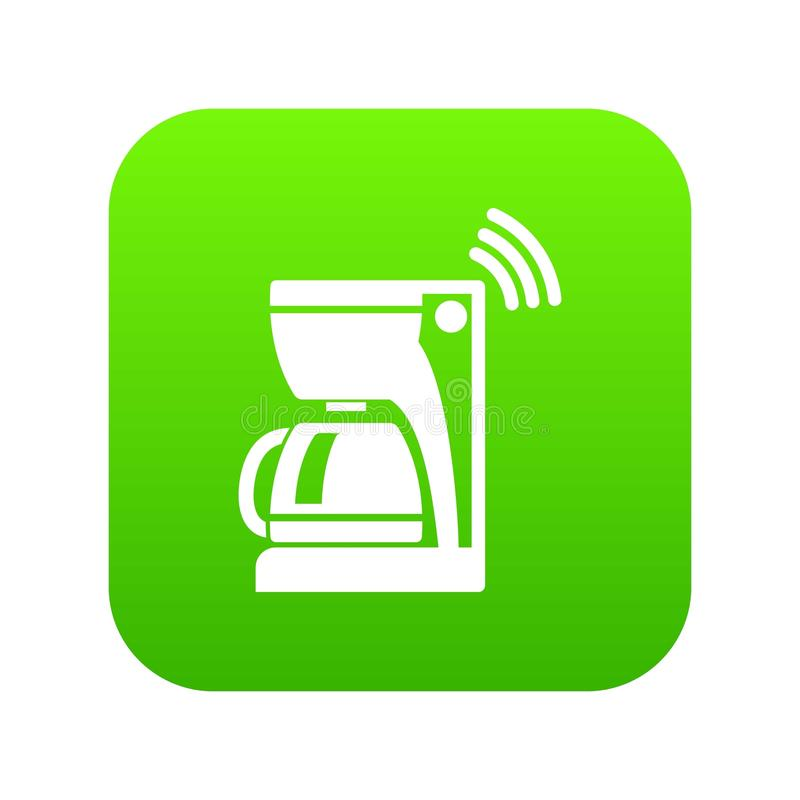 Coffee maker icon green vector. Isolated on white background royalty free illustration