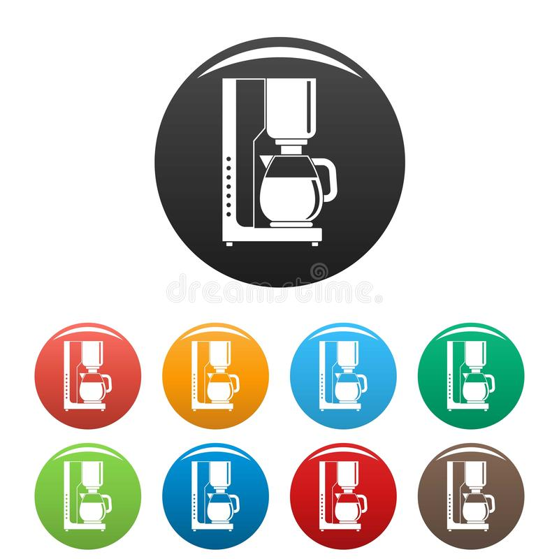 Coffee maker icons set color. Coffee maker icons set 9 color vector isolated on white for any design vector illustration