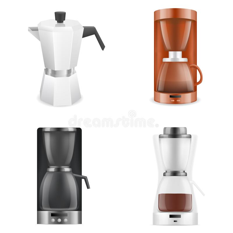 Coffee maker icons set, realistic style. Coffee maker icons set. Realistic set of coffee maker vector icons for web design isolated on white background stock illustration