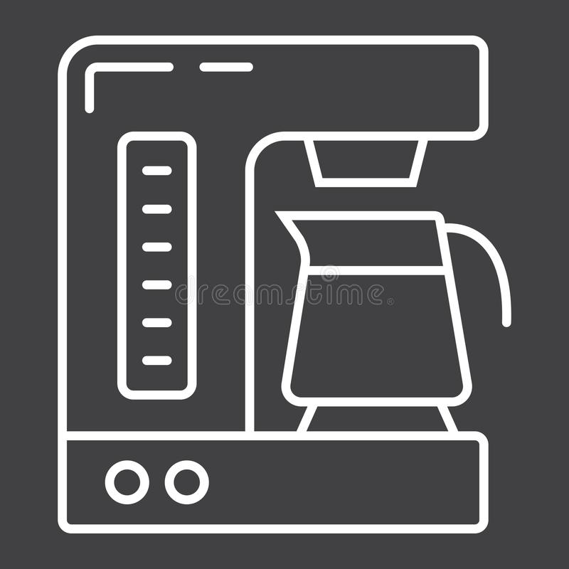 Coffee maker line icon, kitchen and appliance. Vector graphics, a linear pattern on a black background, eps 10 stock illustration