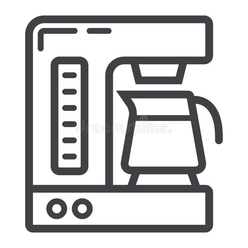 Coffee maker line icon, kitchen and appliance. Vector graphics, a linear pattern on a white background, eps 10 royalty free illustration