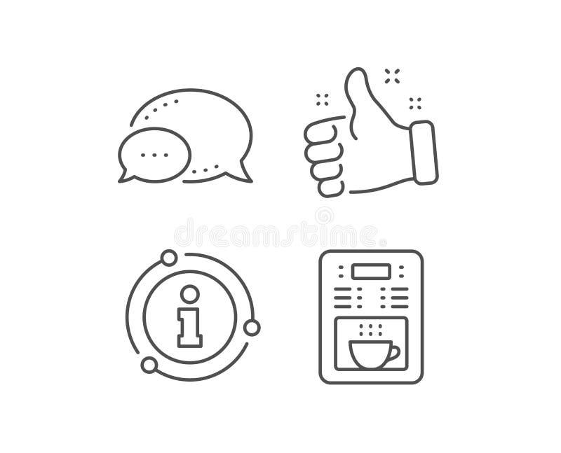 Coffee maker line icon. Vending machine sign. Make tea. Vector. Coffee maker line icon. Chat bubble, info sign elements. Vending machine sign. Make tea symbol royalty free illustration