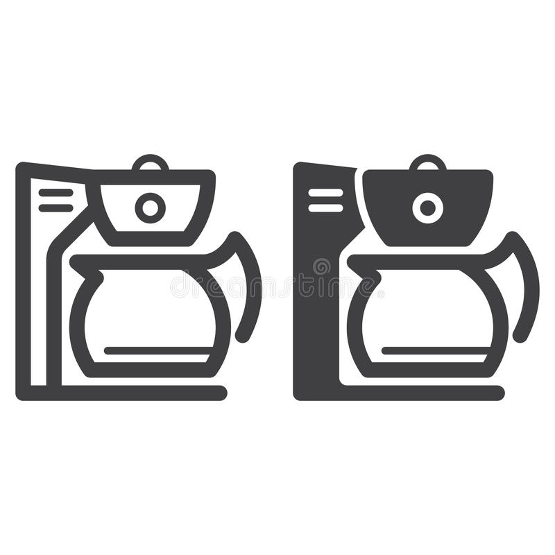Coffee maker line and solid icon. Outline and filled vector sign, linear and full pictogram isolated on white. Symbol, logo illustration stock illustration