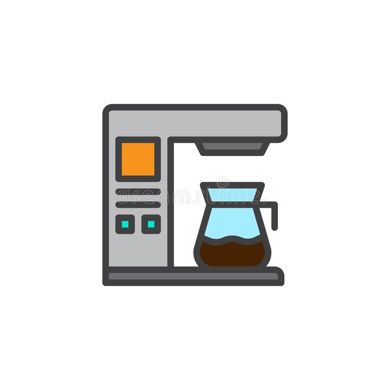 Coffee maker machine filled outline icon. Line vector sign, linear colorful pictogram isolated on white. Symbol, logo illustration. Pixel perfect vector vector illustration