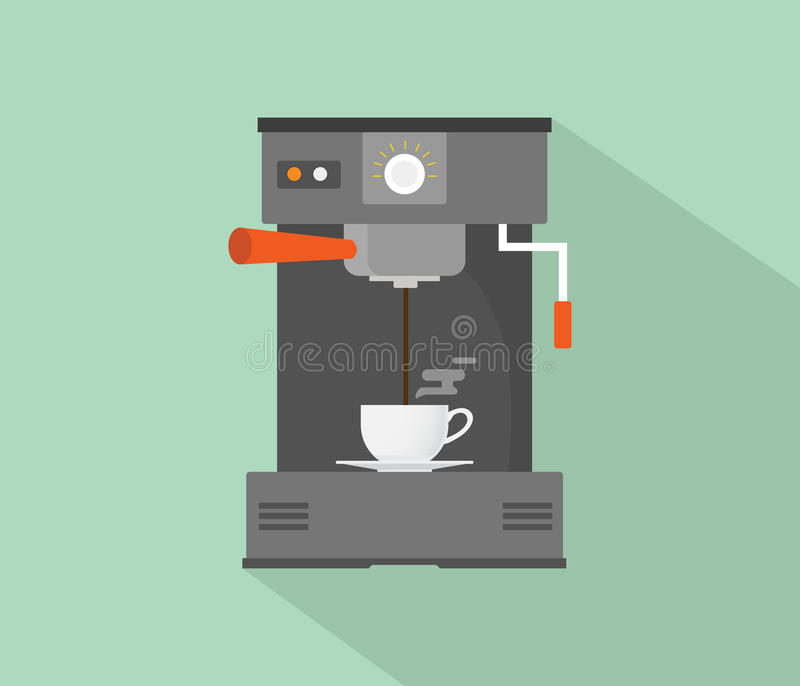 Coffee maker machine flat with long shadow. Vector vector illustration