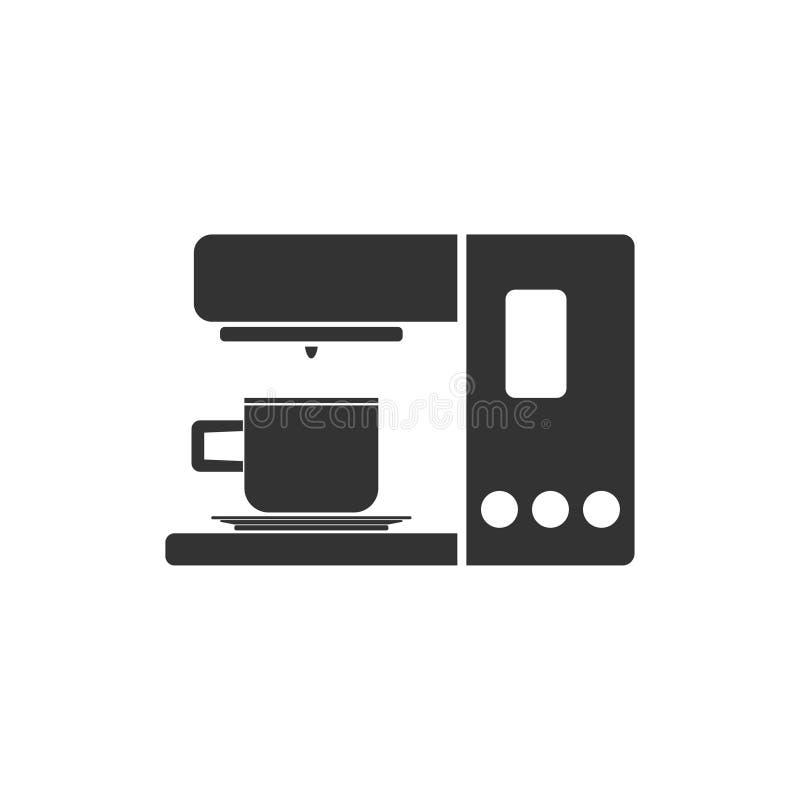 Coffee maker machine icon flat. Coffee maker machine. Black Icon Flat on white background royalty free illustration